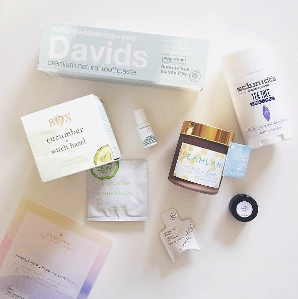"""This #EcoDiva  @crueltyfreefirst just got her second order from us and she says """"they knocked it out of the park again  ."""" Awh we're blushing! And we love that haulyou're taking care of yourself from head to toe Diva! Enjoy the goodies. #ecodivalovesyou #naturalbeauty #davidstoothpaste #leahlaniskincare #schmidtsdeo #naturaldeodorant #boxnaturals"""