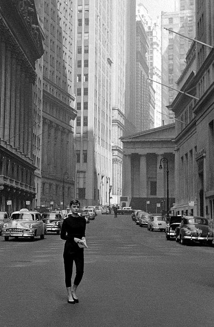 "Audrey near Wall St. during filming of ""Sabrina"", photo by Dennis Stock, New York City, 1954"