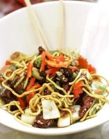 Yakisoba - Egg noodles, carrots, cabbage, scallion, and homemade yakisoba sauce. | Hibachi Grill & Noodle Bar