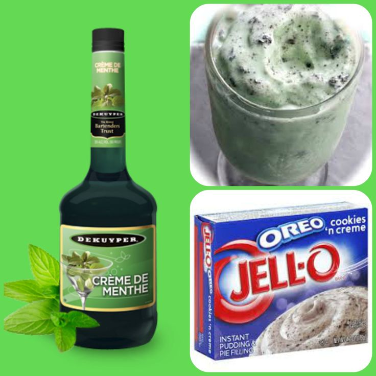 Mint Oreo Pudding Shots 1 small Pkg. cookies 'n creme instant pudding ¾ Cup Milk 3/4 Cup Creme De Menthe  8oz tub Cool Whip  Directions 1. Whisk together the milk, liquor, and instant pudding mix in a bowl until combined. 2. Add cool whip a little at a time with whisk. 3.Spoon the pudding mixture into shot glasses, disposable shot cups or 1 or 2 ounce cups with lids. Place in freezer for at least 2 hours