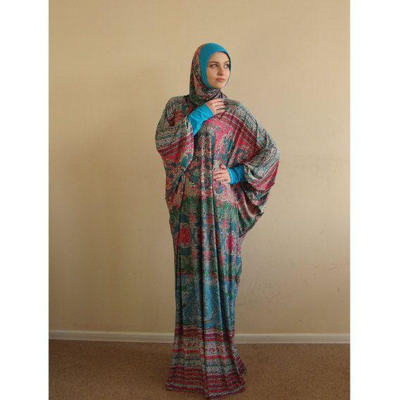 Multi color Maxi Dress Plus Size, Prayer dress, Farasha Caftan, Boho dress, Muslim dress, abaya Dress,Modern hijab, Burqa, Namaz salat dress