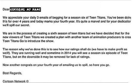 .... We did it. We saved Season 6. They're bringing back Teen Titans and Young Justice. Hurray :)