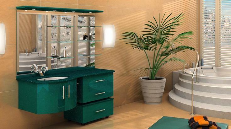 Современная и стильная мебель для ванной комнаты в изумрудном цвете #мебель_для_ванной_комнаты #изумрудная_мебель #зеленая_мебель