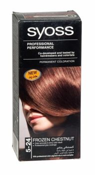 Syoss Professional Permanent Hair Colour 5-24 Frozen Chestnut Co-developed and tested by hairdressers and colorists. Professional grey coverage. Syoss, the permamnent coloration in professional quality for home usage - with color pigment mix and nutri complex. Contains caring color cream, application bottle with developer milk, sachet with color-seal conditioner, instruction leaflet and gloves.
