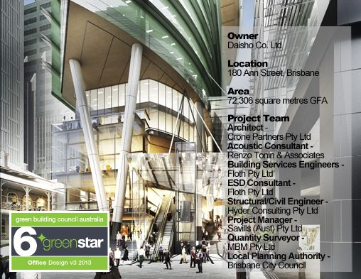 Green Star - 180 Brisbane - Real-time energy savings and transport information provided to building users #greenbuilding #greenstar