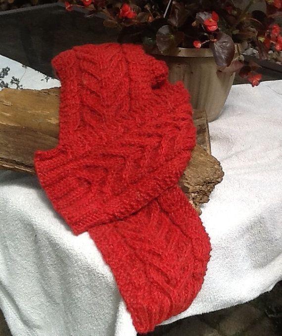 Diep rode kabel gebreide sjaal rode kabel door ColorWondreWarmth