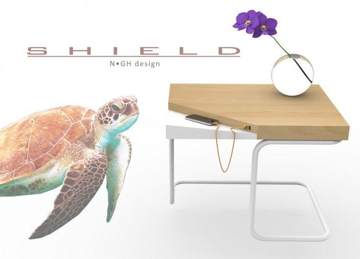 Shield è un'arma di difesa, un guscio di tartaruga che ci protegge dagli oggetti stessi con cui siamo entrati in simbiosi.  N•GH design  Gnocchi Valentina  Heuvelmans Carmen  Nobile Alessia