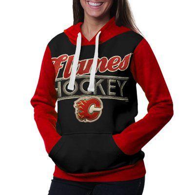 Calgary Flames Ladies Divisional Pullover Hoodie - Black