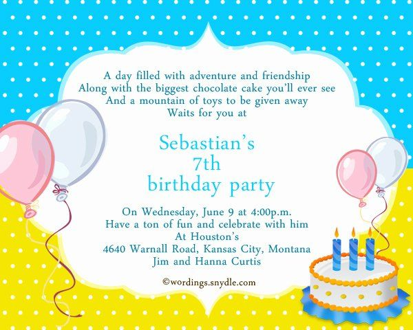 7th Birthday Party Invitation Wording Inspirational 7th Birthday Party In Birthday Party Invitation Wording Party Invite Template Birthday Invitation Templates
