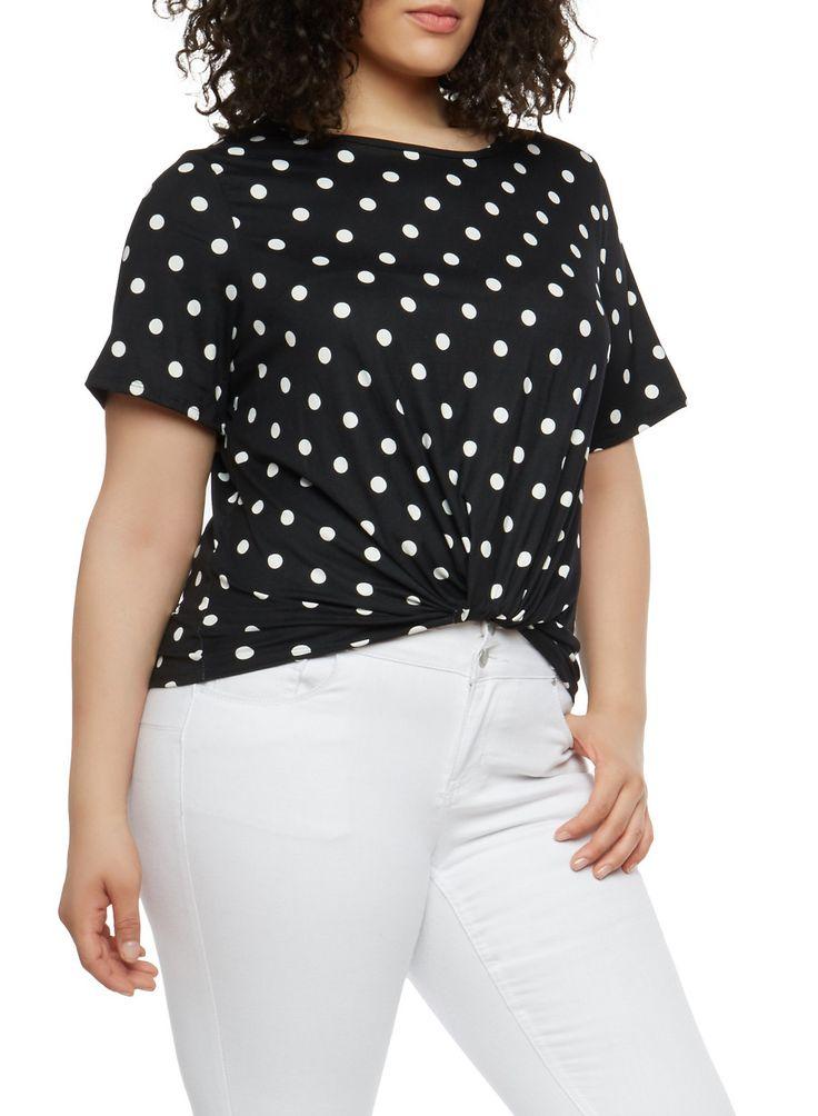 Plus Size Polka Dot Twist Front Top,BLACK/WHITE