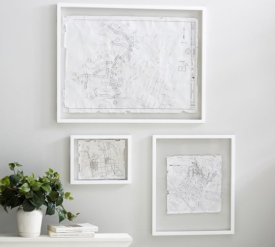 Floating Wood Gallery Frame - White   Pottery Barn