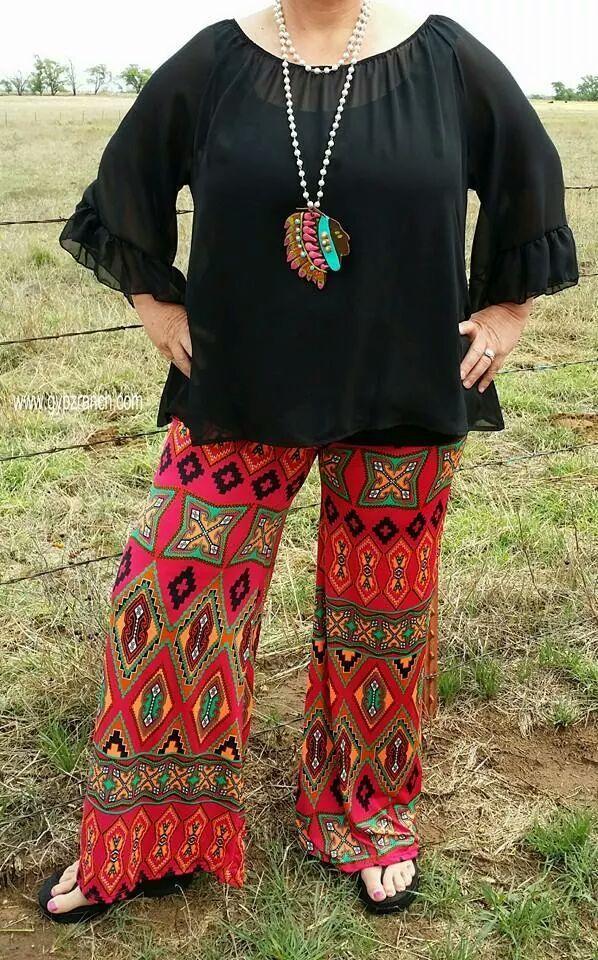 Sweet Pursuit Tribal Palazzo Pants - Plus Size www.gypzranch.com