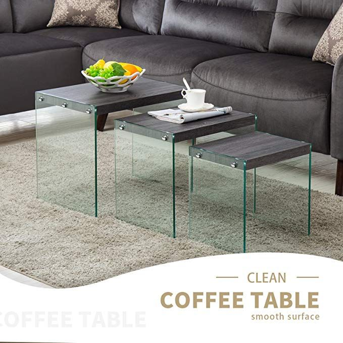 Mecor Nesting Table Set Of 3 Glass Side End Coffee Table Wood Top