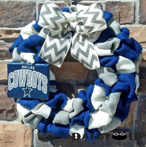 Dallas Cowboys Burlap Wreath Gray White and by DallyUpBoutique