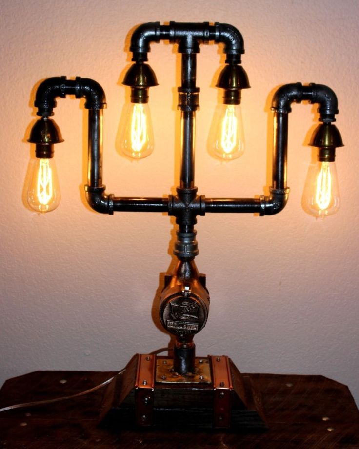 Steampunk Lamp Industrial Salvage Table Light Copper Brass
