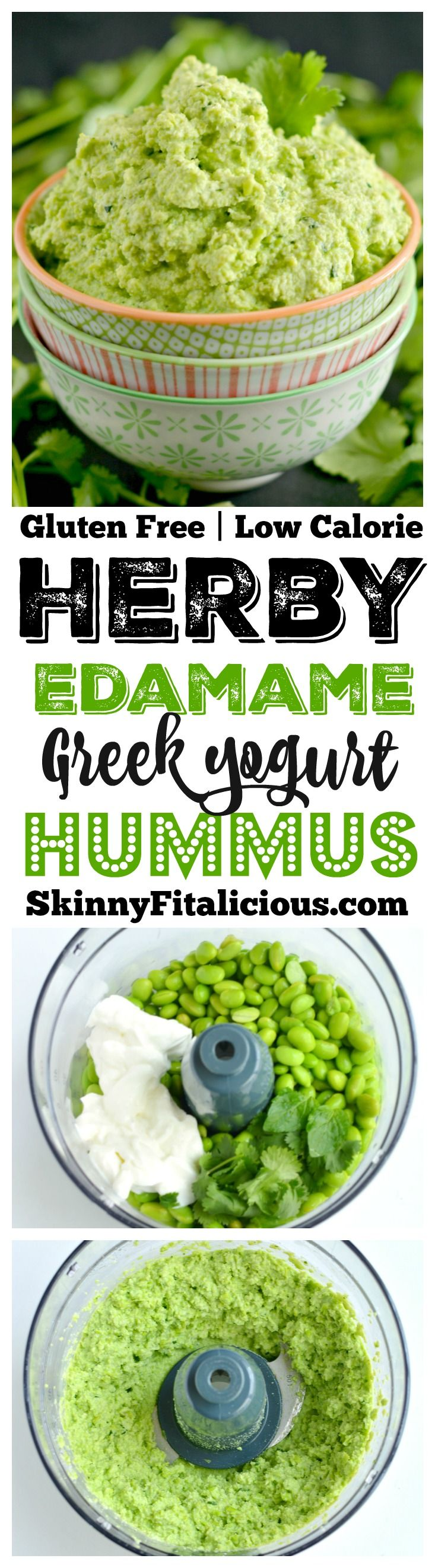 Herby Edamame Hummus made with a few ingredients in a blender, this simple hummus is layered with creamy Greek yogurt and bouncing with tangy, herby flavors of mint and cilantro. A healthy, gluten free protein packed snack for any day of the week! Gluten