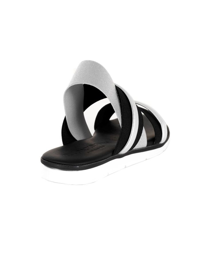 NR|RAPISARDI SILVER FLAT SANDAL S/S 2016 Flat sandals  black and silver  elastic bands  synthetic sole  heel 2 cm  Made in Italy