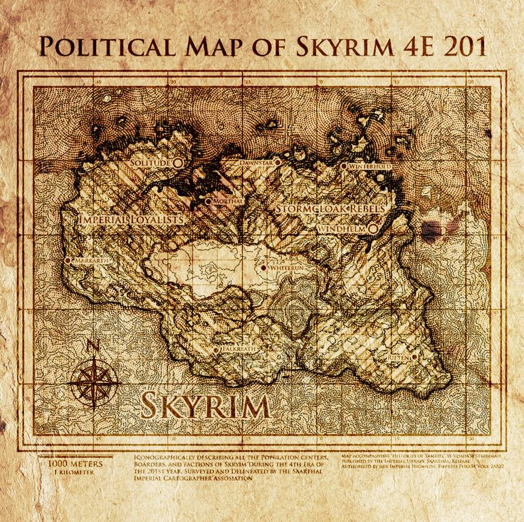 Prettiest Places Skyrim: Elder Scrolls: Political Map Of Skyrim 4E201 By