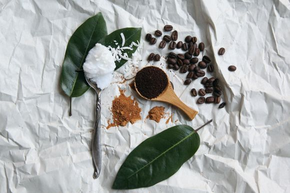 Homemade coconut coffee body scrub