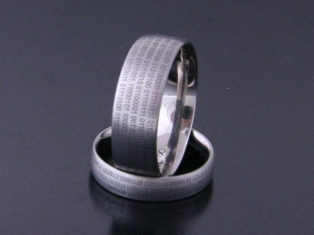 Rings by Bielak  titanium satin  binary code  rings from Poland