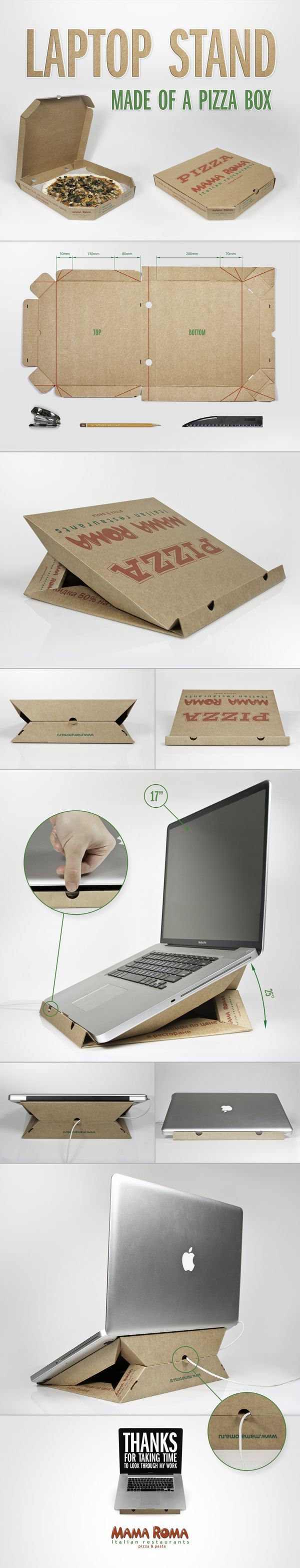 Conceived by Ilya Andreev, a graphic designer based in Russia, the Pizza Box Laptop Stand uses a standard cardboard takeout box.