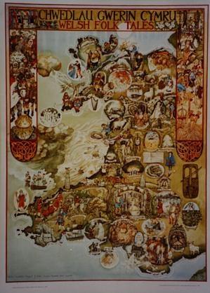 Margaret D Jones Chwedlau Gwerin Cymru/ Welsh Folk Tales - book cover showing Welsh folk traditions