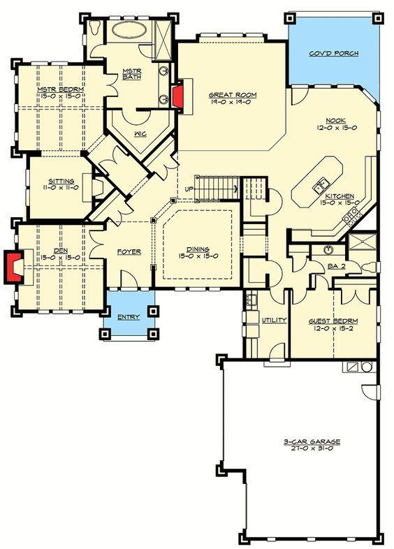 Room Design Floor Plan: 4 Bed Rambler With Vaulted Great Room In 2020