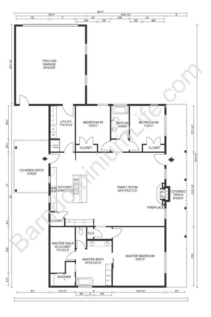 8 Inspiring Barndominium Floor Plans With Garage In 2020 Barndominium Floor Plans Metal House Plans Floor Plans