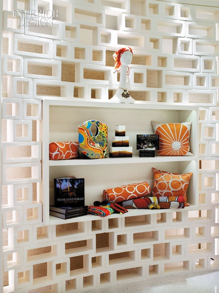 This feature wall is built from painted concrete blocks - love it! But I will use wood