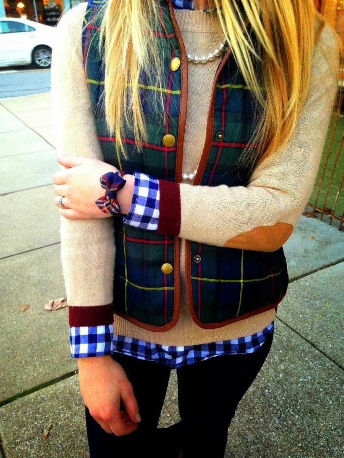 Elbow Patches Sweater With Stylish Vest. Love the sweater, and I really like vests but can't decide how I geel about the plaid