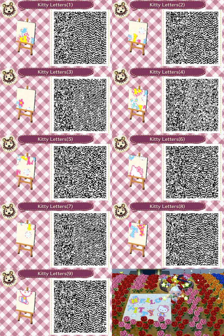 hello kitty letters mural animal crossing new leaf qr