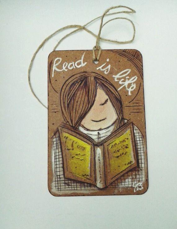 """#quadretto #idearegalo """"read is life"""" #libri #lettura  ©barbarasanti"""