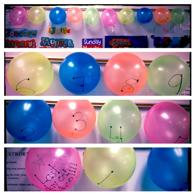 You can pop the balloons as the days near the end. They can also have special activities or privileges inside them.