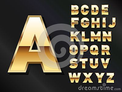 Set of Shiny Golden letters