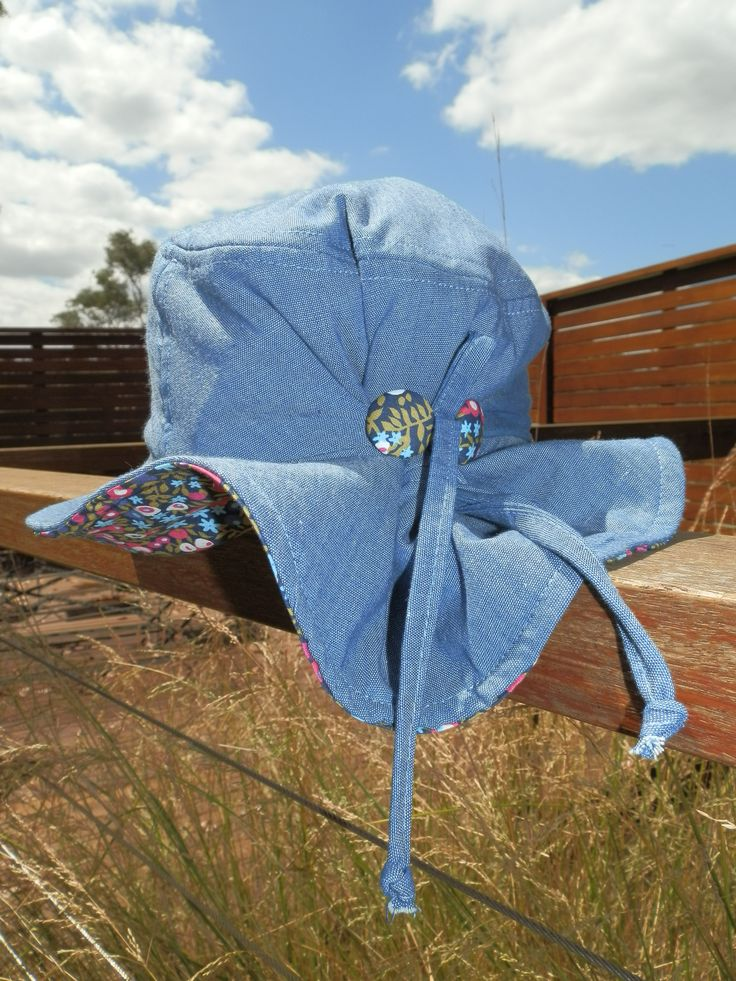 $29.95 - Girl's Hat (Peace, Love and Mung Beans) UPF 50+. It has a front brim of 5.5cm, in accordance with Cancer Council recommendations, and a wider back brim for added neck protection. It's made from lightweight 100% cotton chambray with a polycotton SportsPlus® core for breathability and durability. With an adjustable drawstring & cordlock it fits Size Small (1-3) and Medium (4-6). It is 100% Australian made and designed with sun protection in mind. www.shadydays.com.au