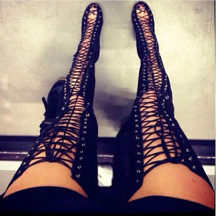 Сексуальные Черные Высокие Каблуки Гладиатор Обувь Женщина Peep Toe Lace Up бедро Высокие Сапоги Лето Вырезами Feminina Бота Над Коленом сандалии купить на AliExpress