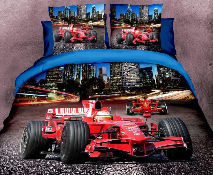 Modne pościele w kolorze beżowo niebieskim z czerwoną wyścigówką
