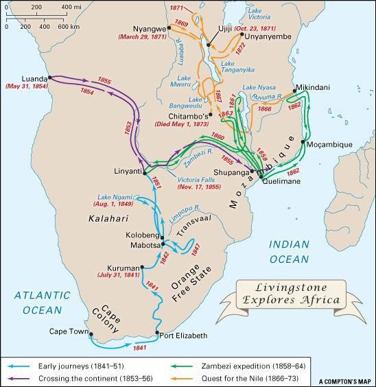 Map showing all the travels of David Livingstone