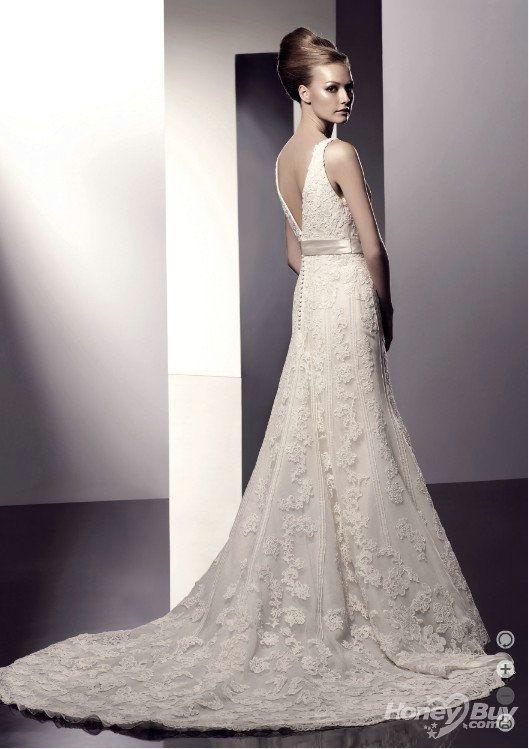 vintage champagne wedding dress | champagne V neck low back mermaid vintage lace tropical wedding dress