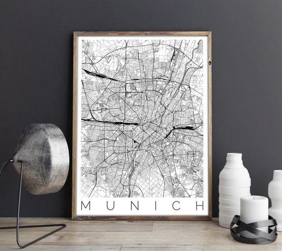 Karte von München  München Karte Druck  Karte Kunst