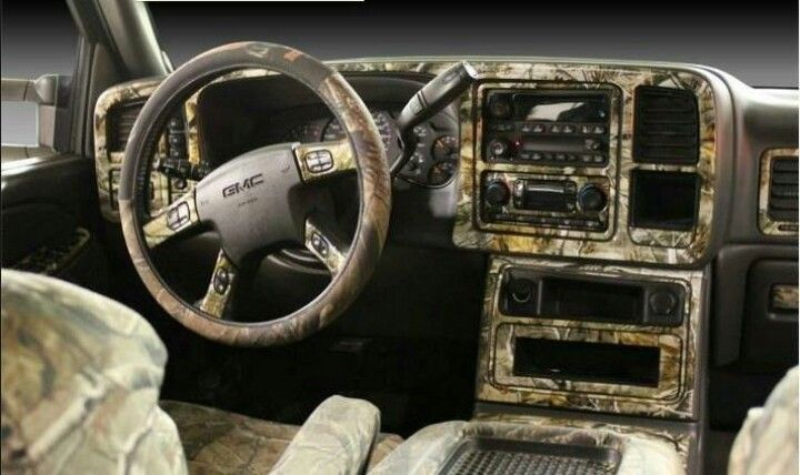 Mossy oak camo truck interior . Don't like Chevy, I would like FORD!!!