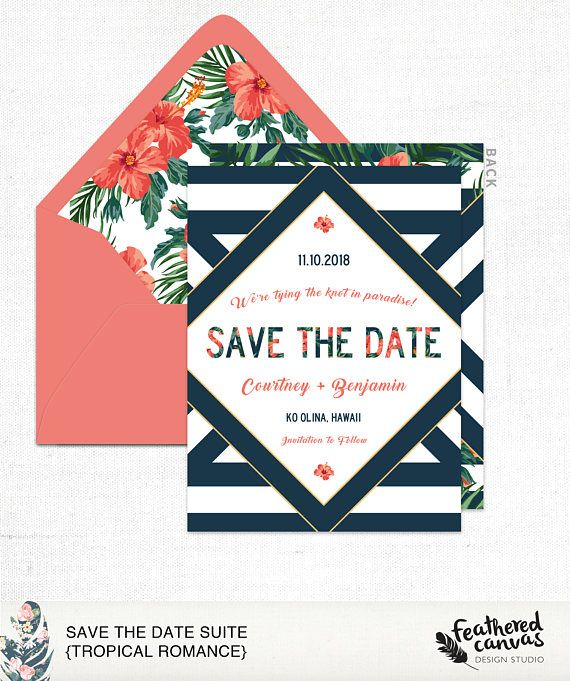 Save the Date Card & Styled Envelope Tropical Romance