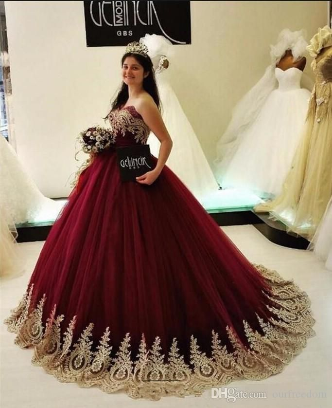 7d5f7e62a17 2018 Modest Burgundy Tulle Quinceanera Dresses Sweetheart Neck Ball Gown  Gold Appliques Special Occasion Dresses Prom Dresses Custom Made