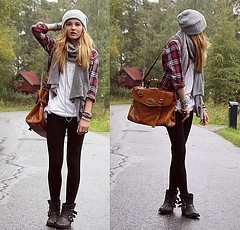 Red flannel, white loose t-shirt, jeans.