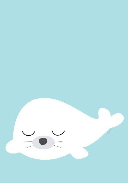 Bébé phoque affiche Illustration animale par Sealandfriends, $10.50
