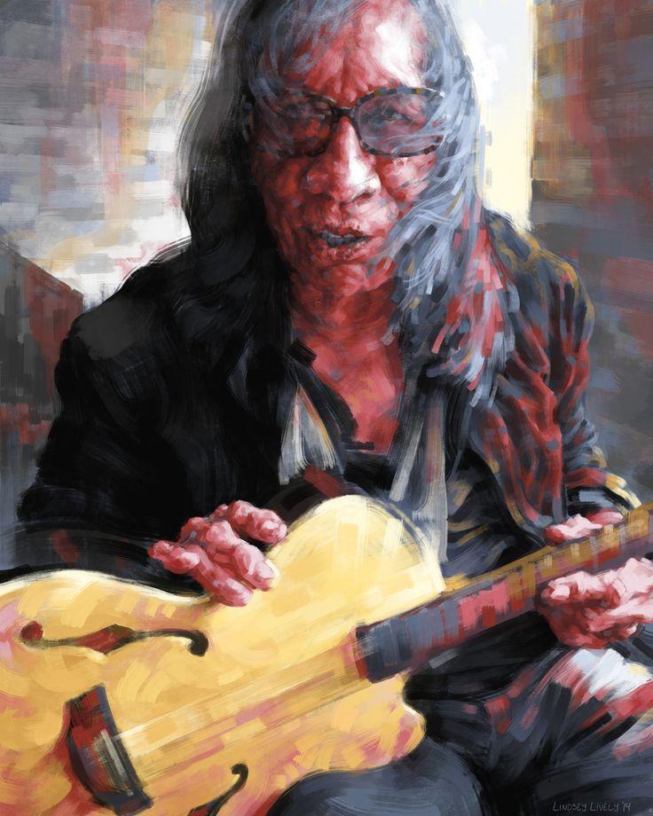 "Digital painting of Sixto ""sugar man"" Rodriguez.  Stylized Portrait illustration by Lindsey Lively."