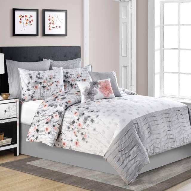 Calysta Comforter Set in Coral Grey. 17 Best ideas about Grey Comforter Sets Queen on Pinterest   Grey