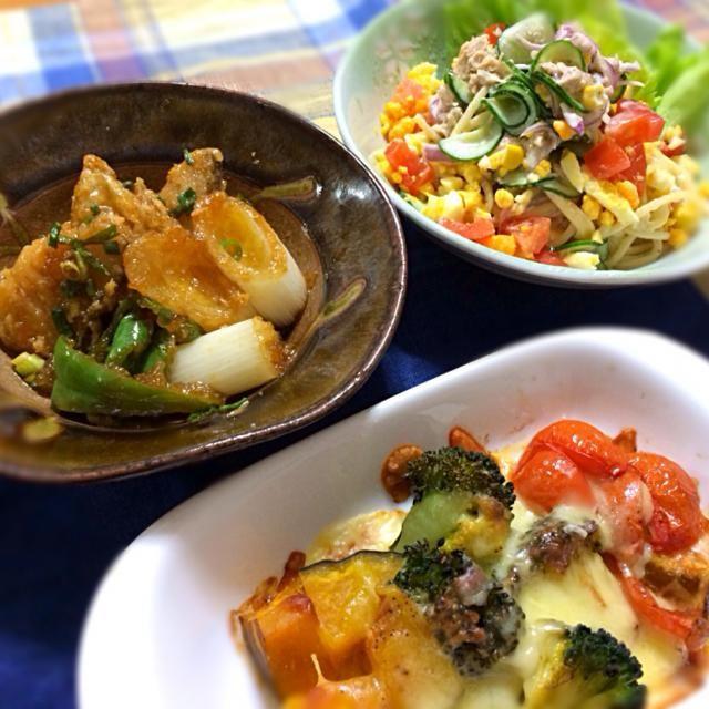 片栗粉をまぶして揚げた鱈と素揚げ野菜を香味だれで和えました。温野菜をオリーブオイル、アルペンザルツ、粗挽き黒胡椒、チーズで焼きました。スパゲティサラダは昔ながらの。マヨラーの旦那さんが喜ぶので^ ^ ビールと一緒に撮影すればよかった^_^; - 10件のもぐもぐ - たらと葱ピーマン香味だれ、温野菜オーブン焼き、スパゲティサラダ by reirei7