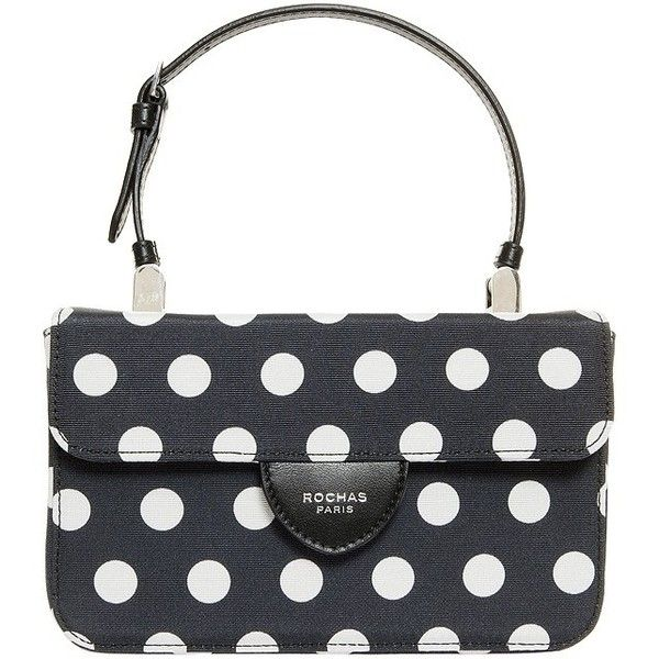Rochas Mini Polka Dot Handbag (€250) ❤ liked on Polyvore featuring bags, handbags, shoulder bags, man bag, clasp purse, white purse, shoulder handbags and handbag purse