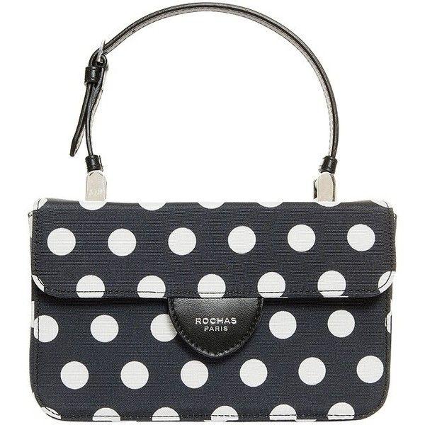 Rochas Mini Polka Dot Handbag (€250) ❤ liked on Polyvore featuring bags, handbags, shoulder bags, man bag, clasp purse, white purse, shoulder handbags and handbag purse